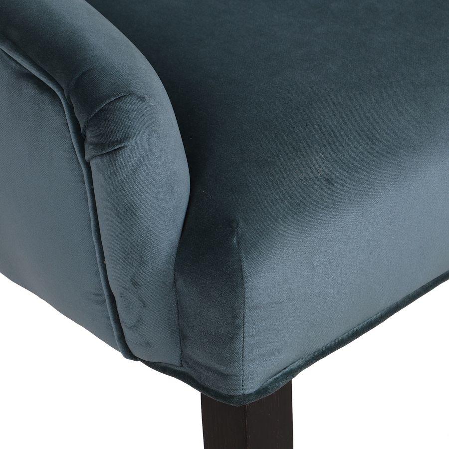 Fauteuil de table en hévéa et tissu velours vert bleuté - Jude
