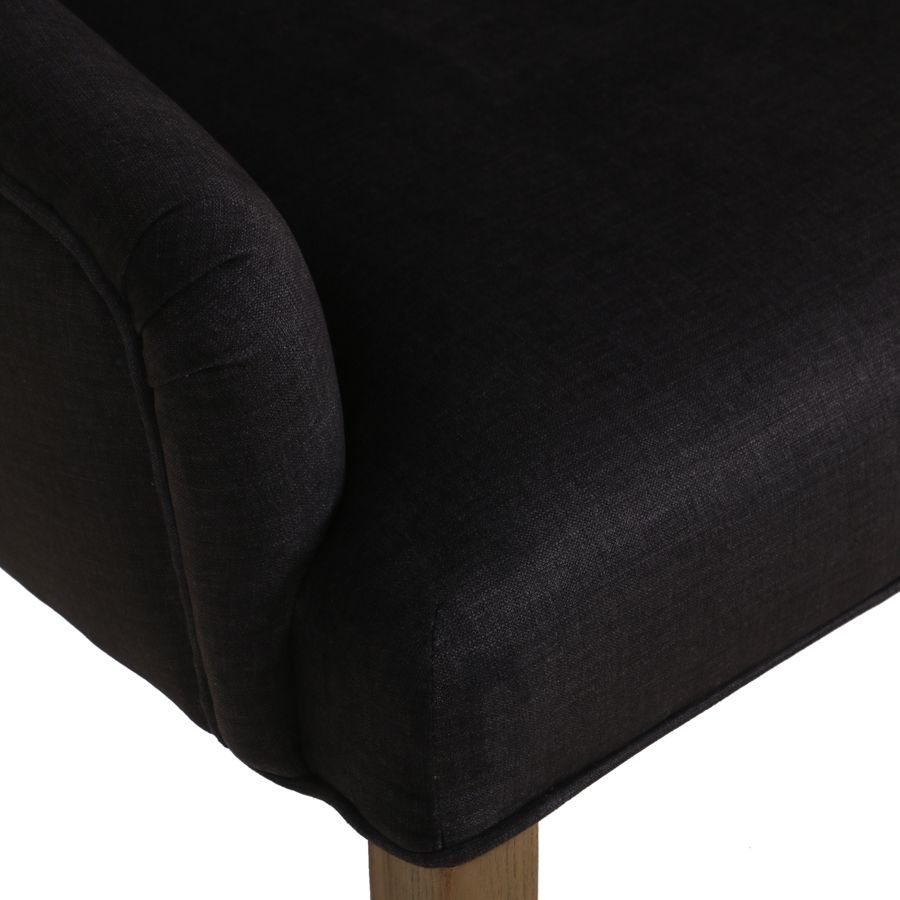 Fauteuil de table en frêne et tissu anthracite - Jude