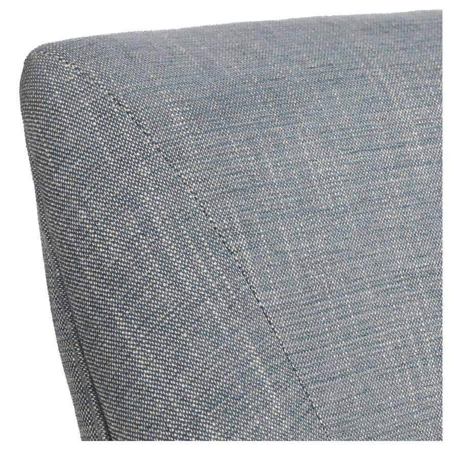 Fauteuil de table en tissu bleu chambray et frêne massif - Jude