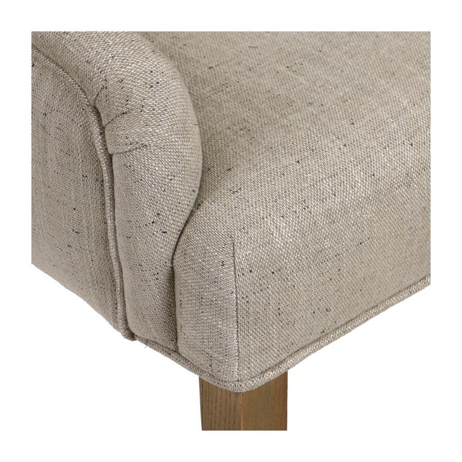 Fauteuil de table en tissu mastic grisé et frêne massif - Jude