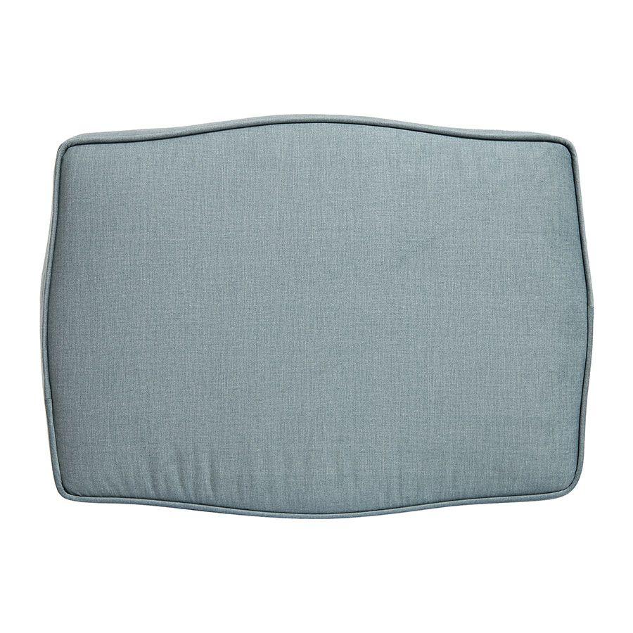 Pouf en hévéa massif gris argenté et tissu vert sauge - Hector