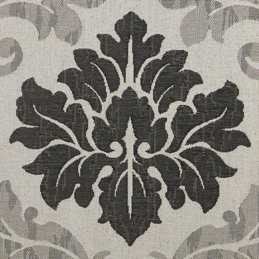 Pouf en frêne  massif et tissu arabesque - Hector