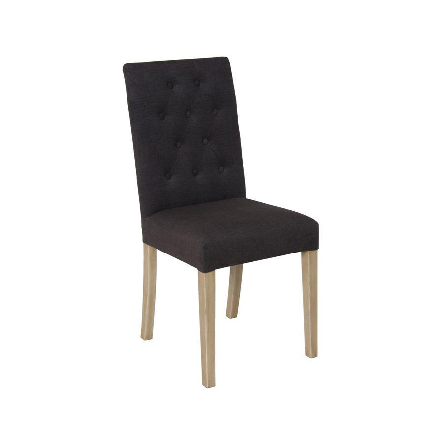 Chaise capitonnée en tissu gris et hévéa - Albane