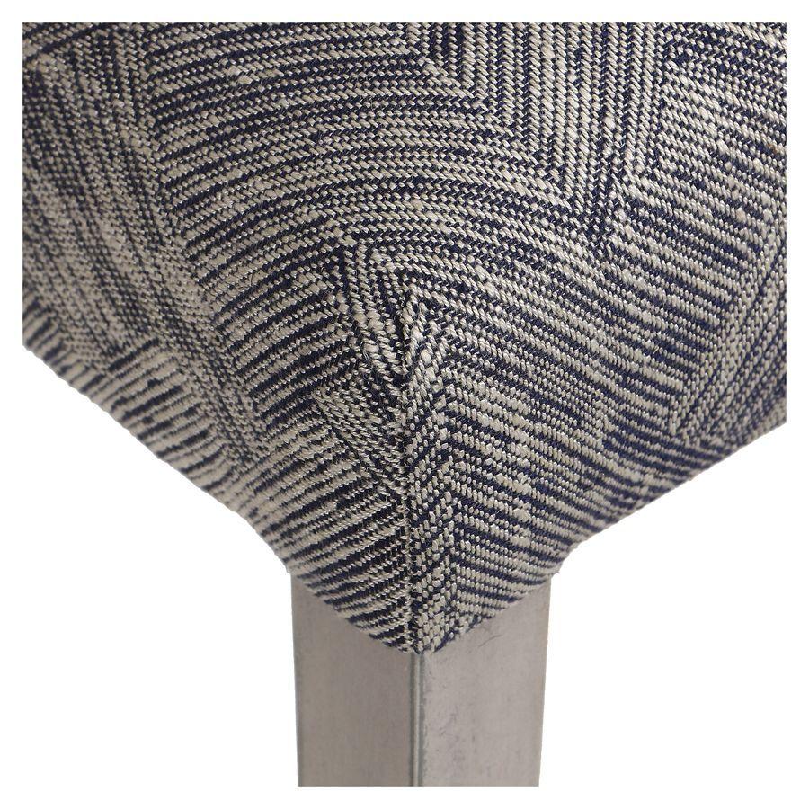 Chaise en tissu mosaïque indigo et hévéa massif noir - Albane
