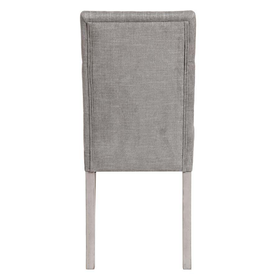 Chaise capitonnée en tissu gris chambray et hévéa - Albane