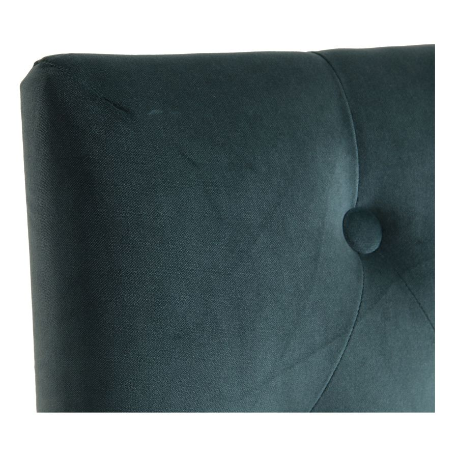 Chaise capitonnée en tissu velours vert bleuté et hévéa - Albane