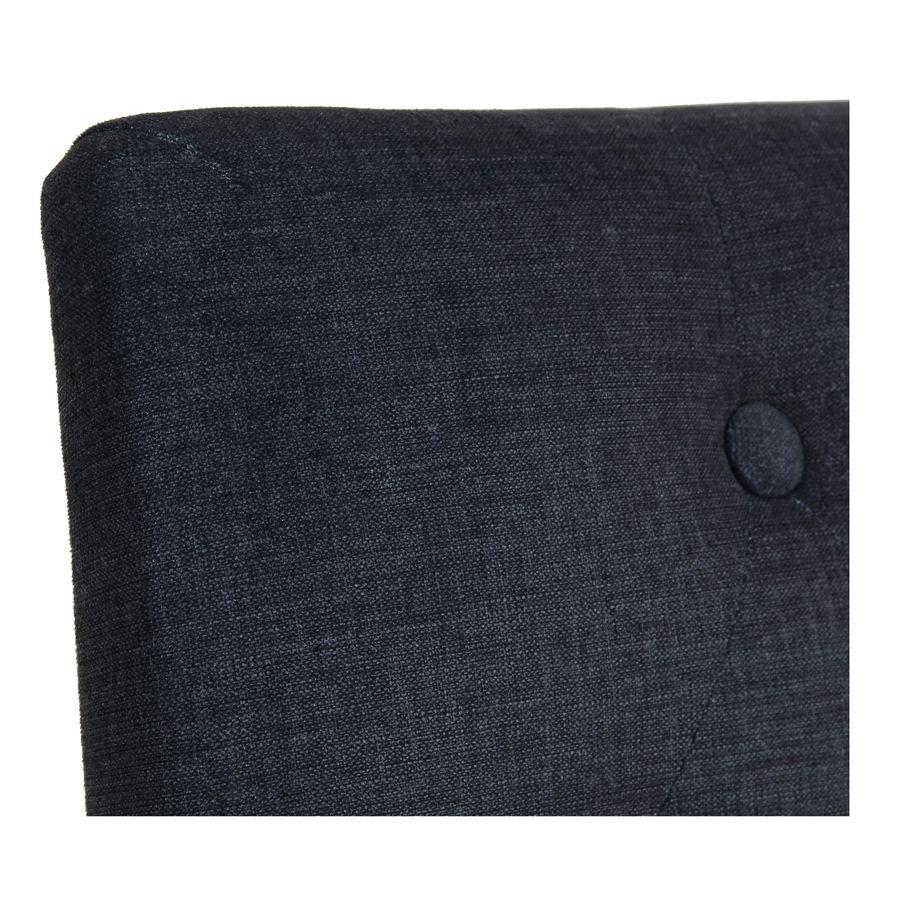 Chaise capitonnée en tissu gris anthracite et frêne - Albane