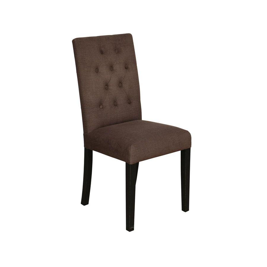 Chaise capitonnée en tissu marron et hévéa - Albane
