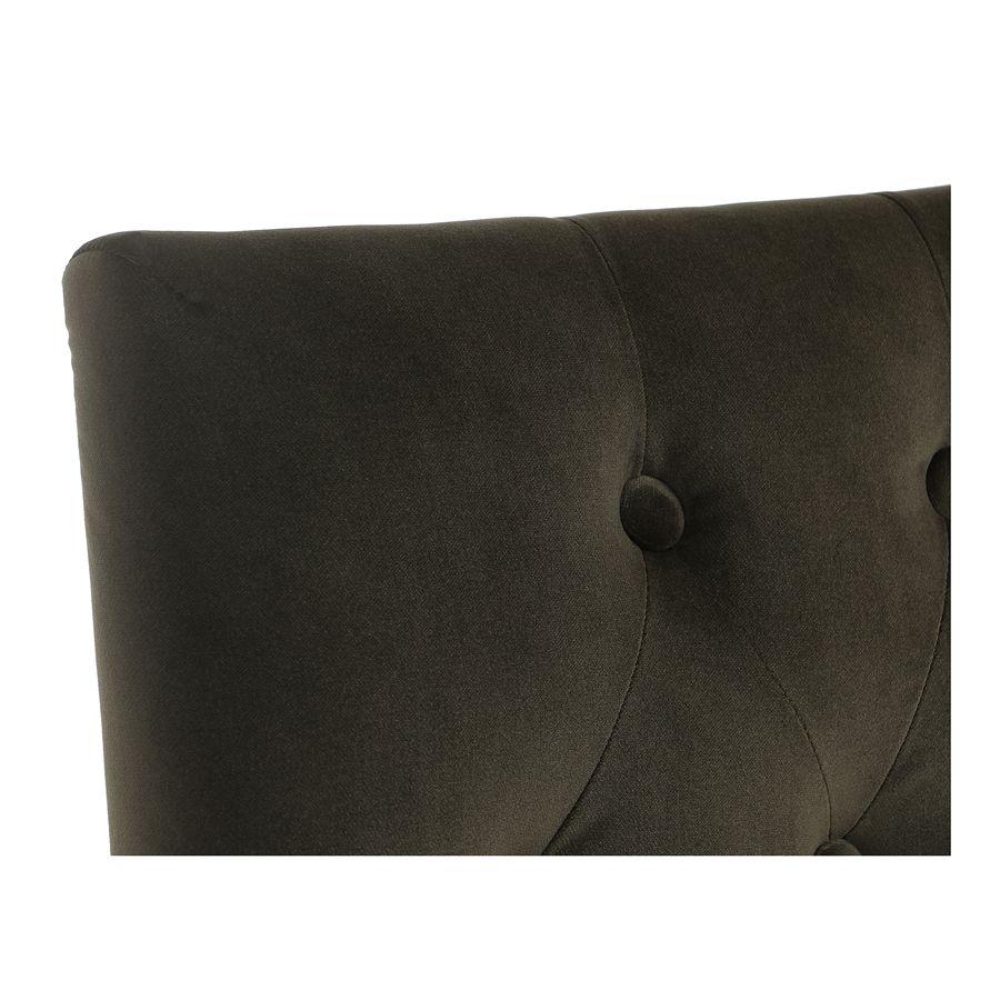 Chaise capitonnée en tissu velours kaki et hévéa - Albane