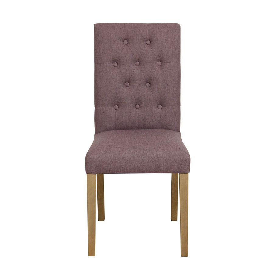 Chaise capitonnée en tissu violet - Albane