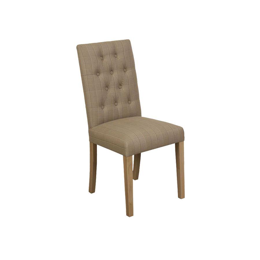 Chaise capitonnée en tissu prince de galles - Albane