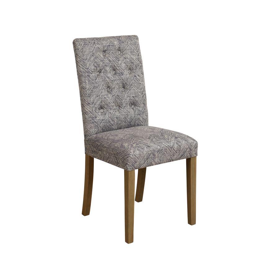 Chaise capitonnée en tissu mosaïque indigo - Albane