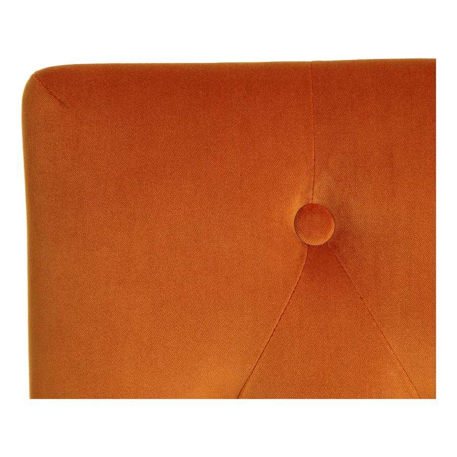 Chaise capitonnée en tissu velours safran et frêne - Albane