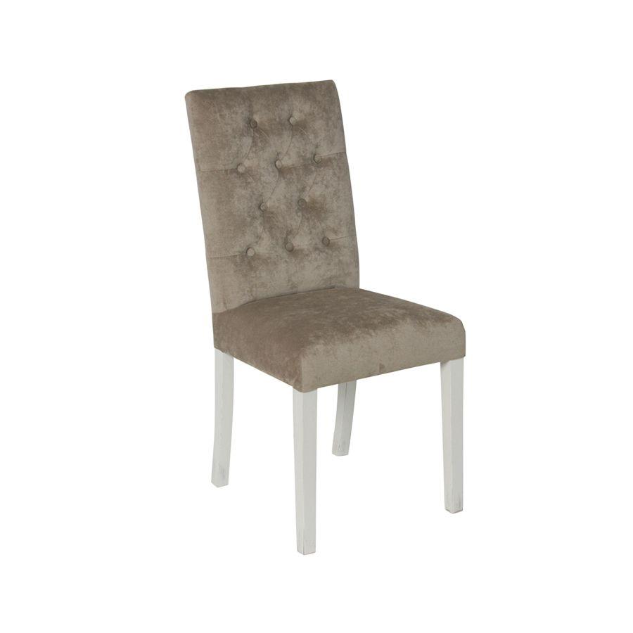 Chaise capitonnée en tissu velours taupe - Albane