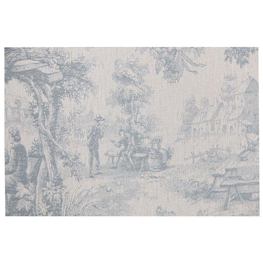 Chaise en hévéa massif gris argenté et tissu toile de Jouy - Romane