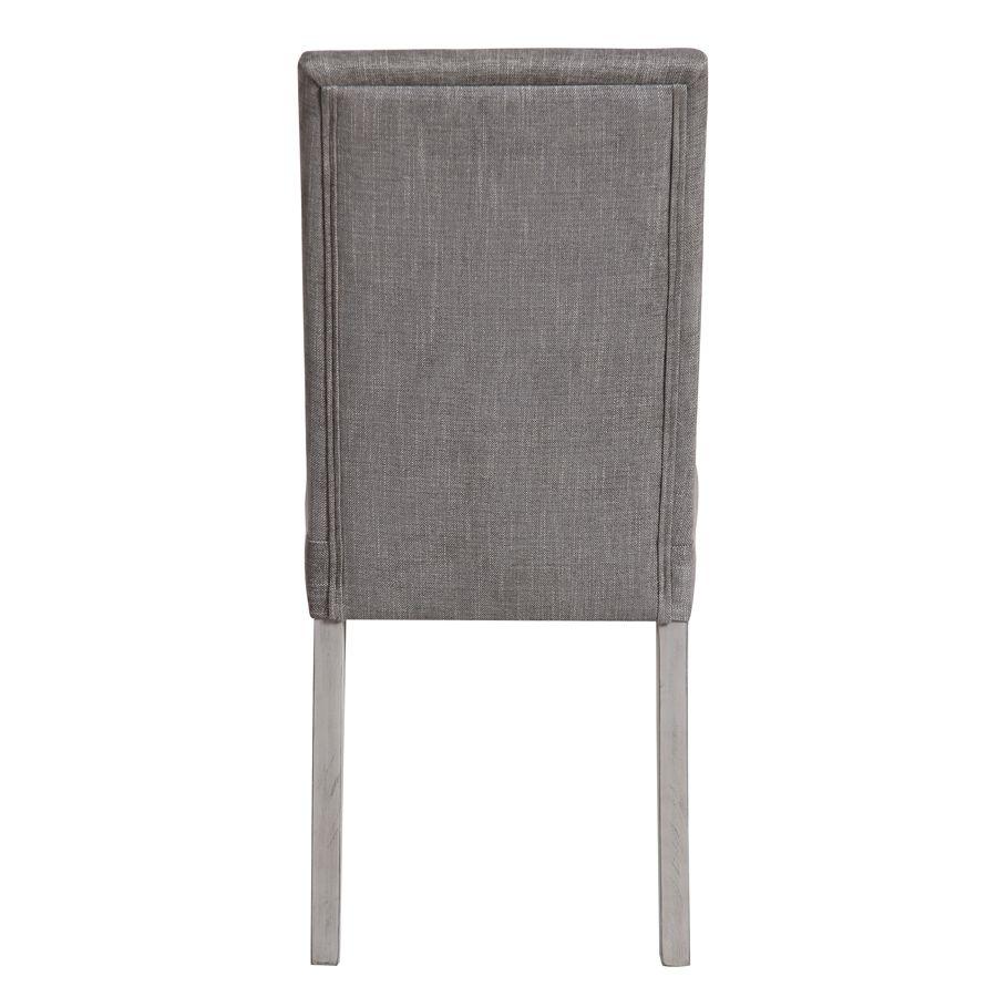 Chaise en hévéa massif et tissu gris chambray - Romane