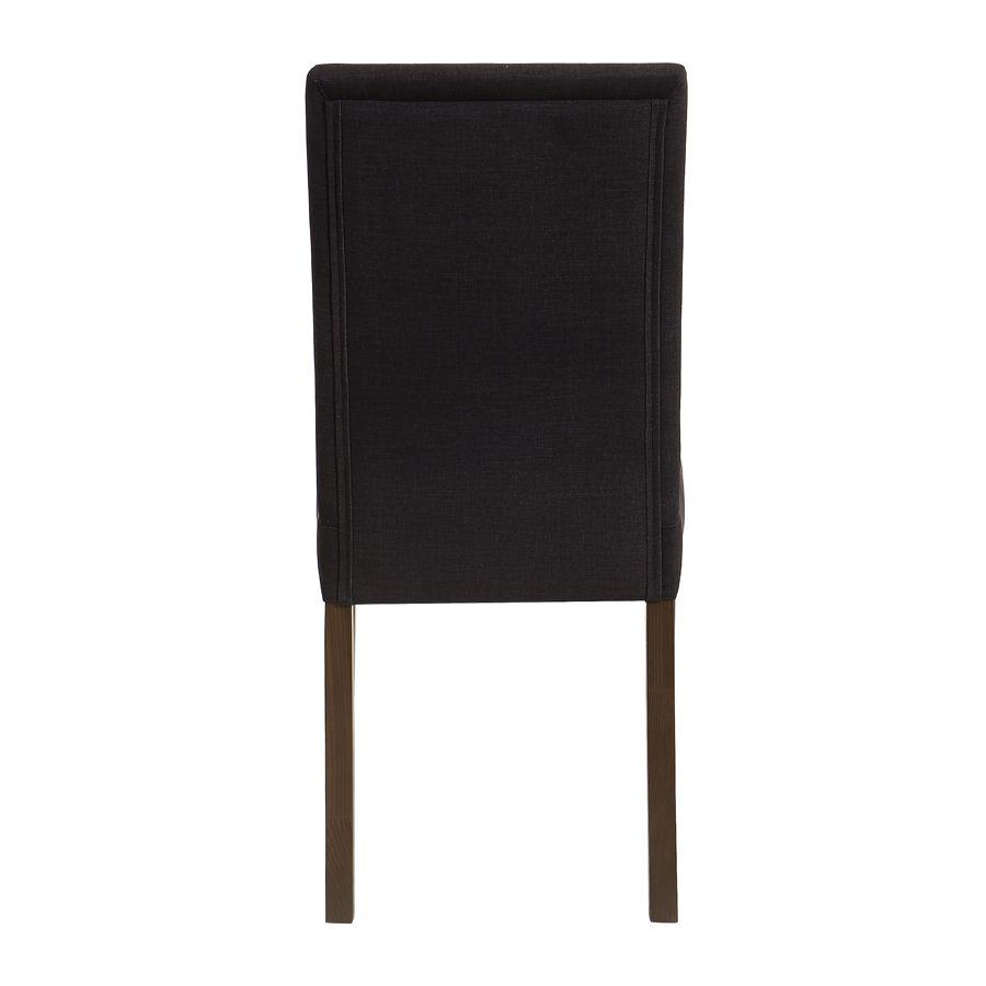 Chaise en tissu anthracite et hévéa massif - Romane