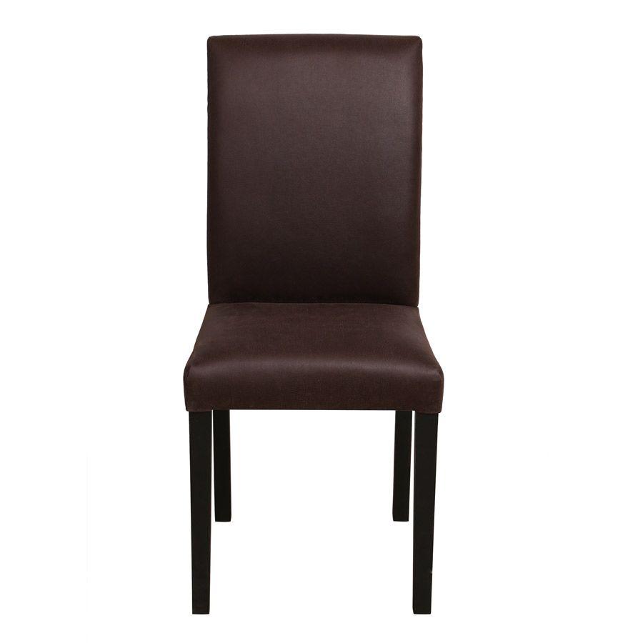 Chaise en hévéa massif et tissu éco cuir chocolat - Romane