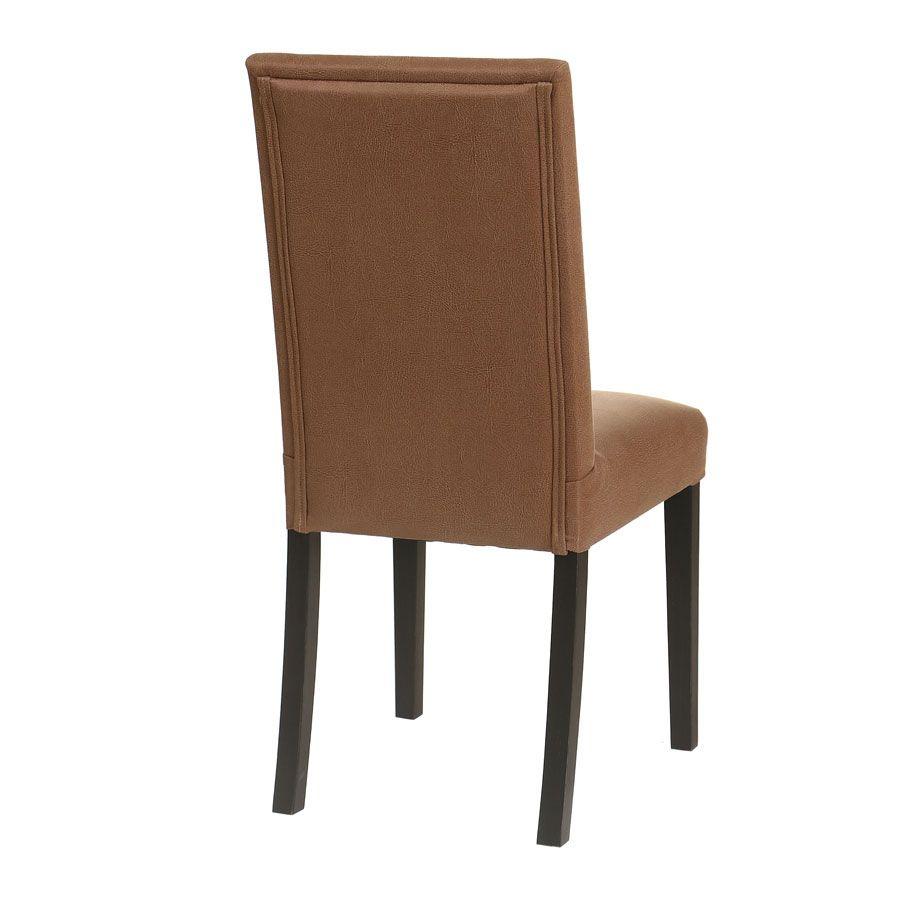 Chaise en hévéa massif noir et éco-cuir cognac - Romane