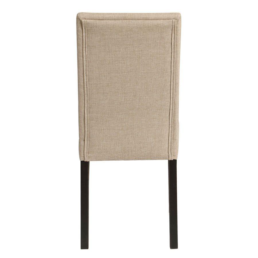 Chaise en hévéa massif noir et tissu ficelle - Romane