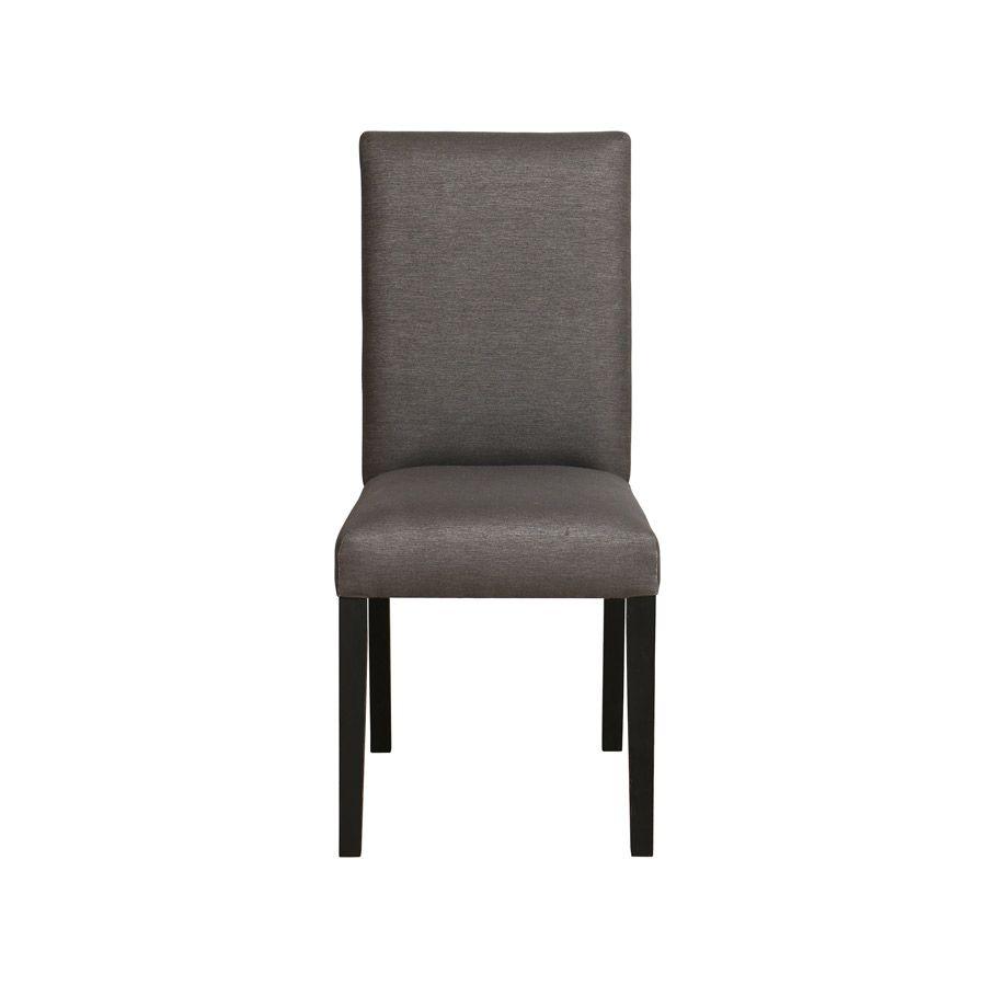 Chaise en tissu noir et hévéa massif - Romane