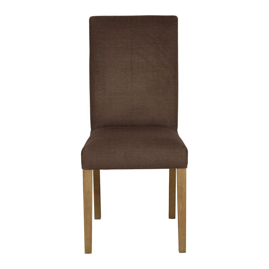 Chaise en frêne massif et tissu marron glacé - Romane