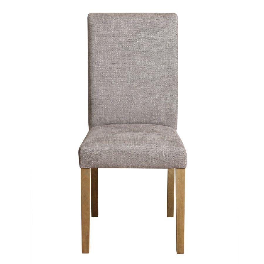 Chaise en frêne et tissu gris chambray - Romane