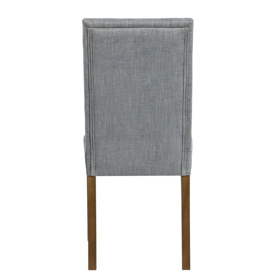 Chaise en tissu bleu chambray et frêne massif - Romane
