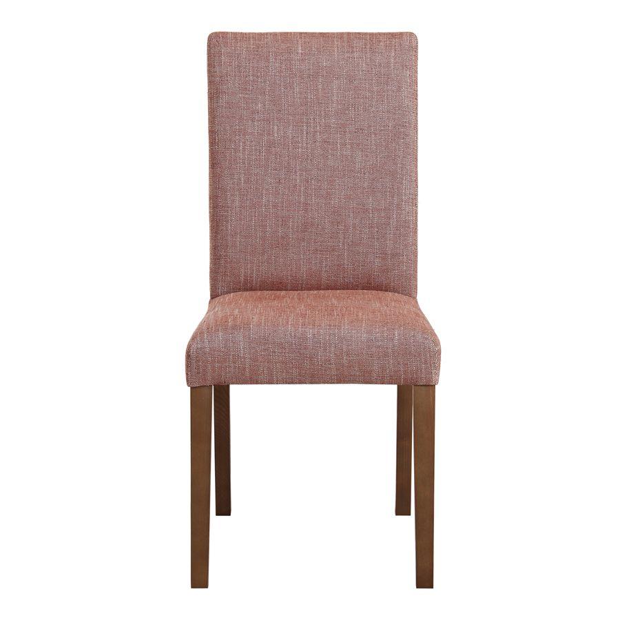 Chaise en tissu orange briqué et frêne massif - Romane