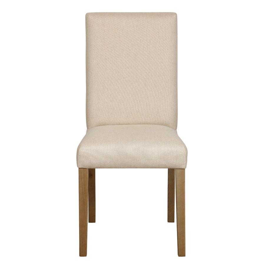 Chaise en frêne massif et tissu beige ficelle - Romane