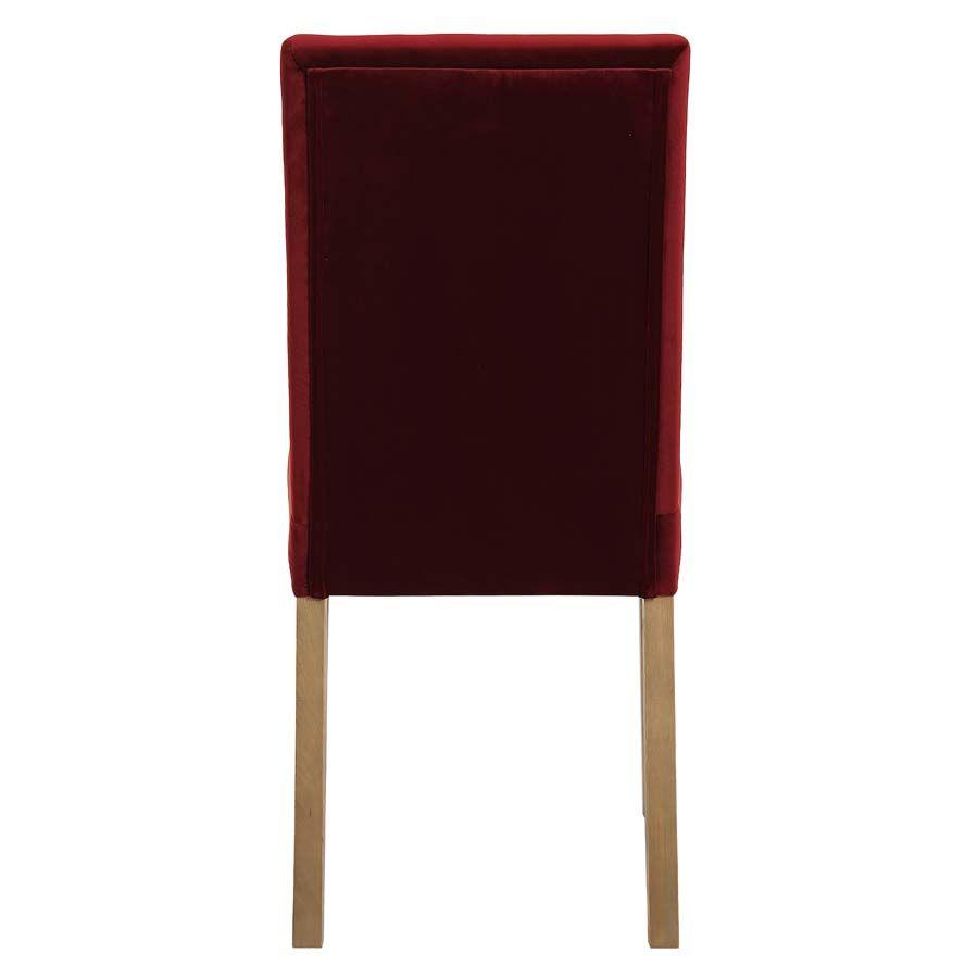 Chaise en frêne massif et tissu velours lie de vin - Romane
