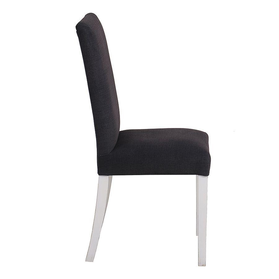 Chaise en hévéa massif et tissu Anthracite - Romane