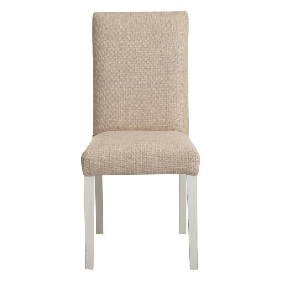 Chaise en tissu ficelle et hévéa massif - Romane