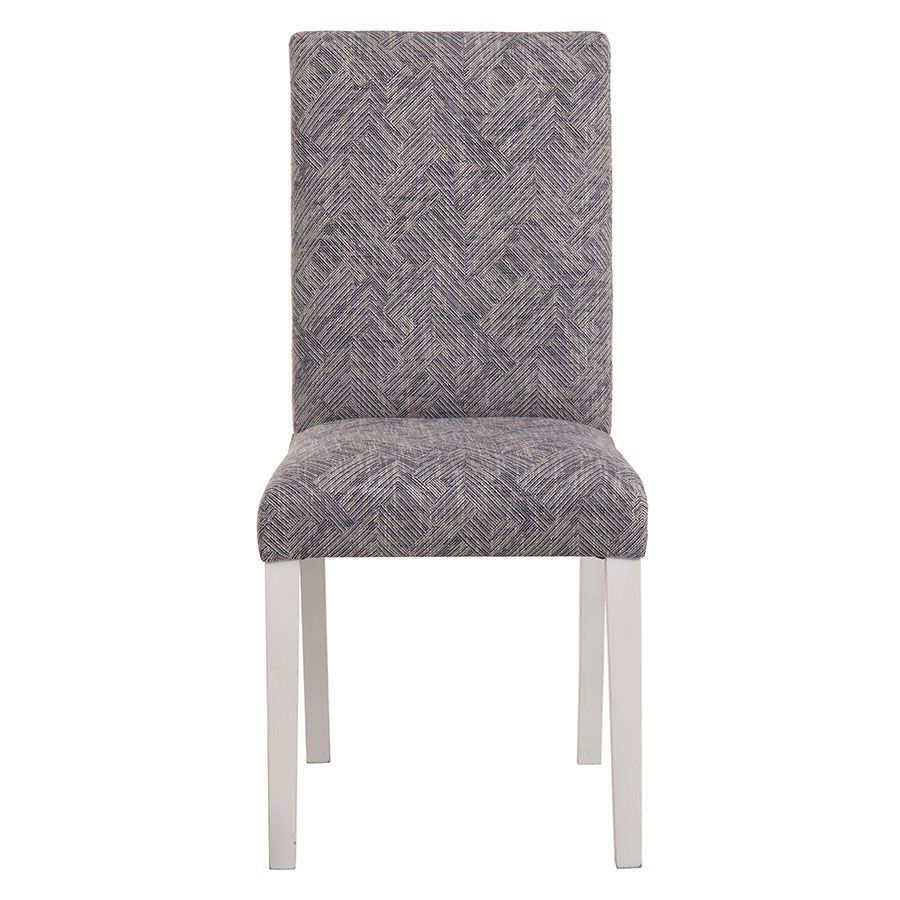 Chaise en hévéa massif et tissu mosaIque indigo - Romane