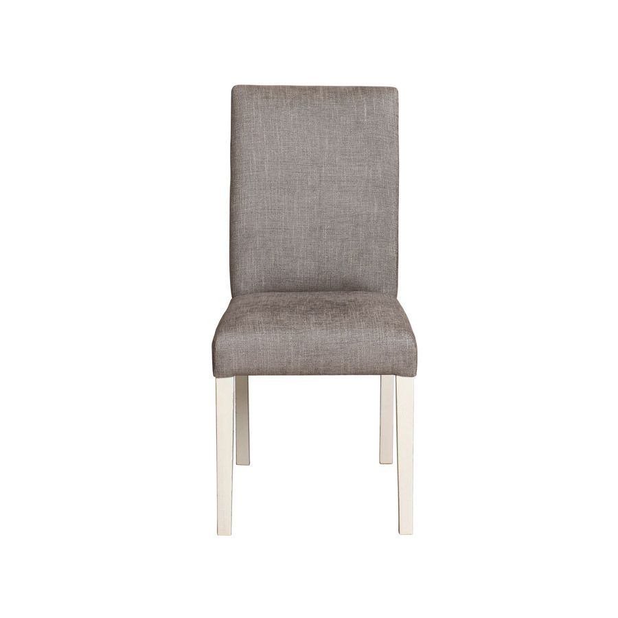 Chaise en hévéa massif blanc et tissu gris chambray - Romane