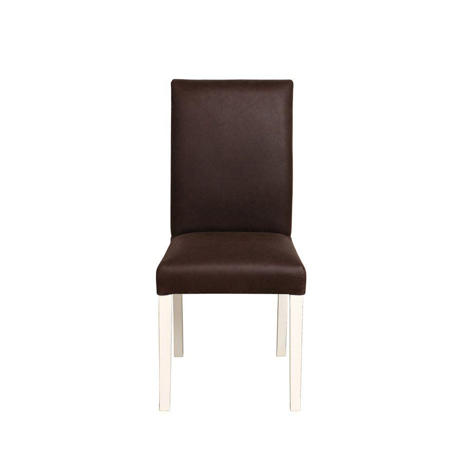 Chaise en hévéa massif finition Romance et tissu éco cuir - Romane