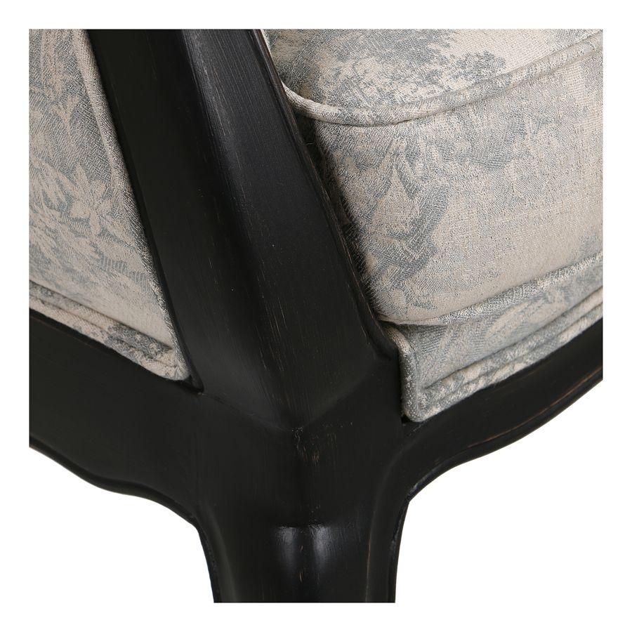 Banquette 2 places en hévéa massif noir et tissu toile de Jouy - Apolline