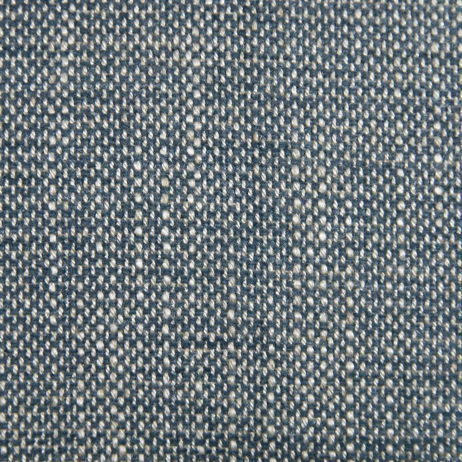 Banquette 2 places en hévéa massif blanc et tissu bleu chambray - Apolline