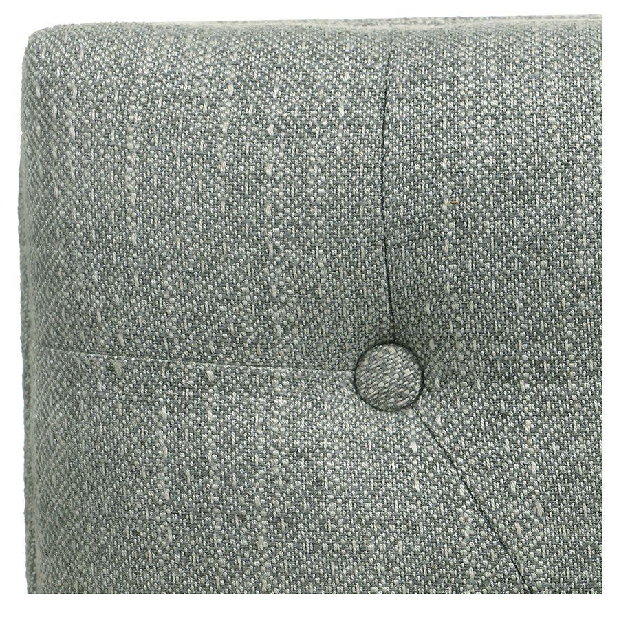 Banc ottoman en hévéa gris argenté et tissu losange gris - Gaspard