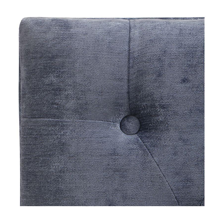 Banc ottoman en hévéa noir et tissu Velours bleu - Gaspard