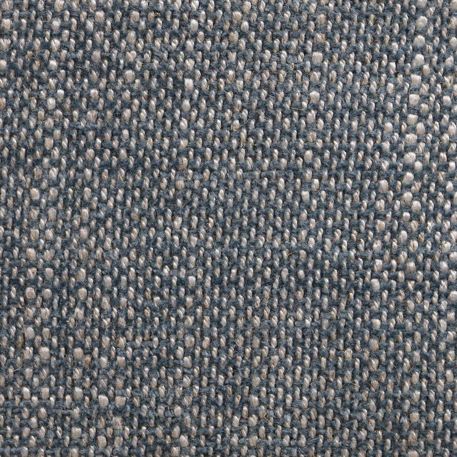 Banc ottoman en hévéa noir et tissu bleu chambray - Gaspard