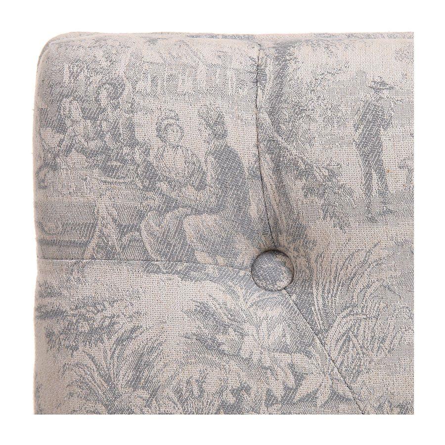 Banc ottoman en frêne tissu toile de Jouy - Gaspard