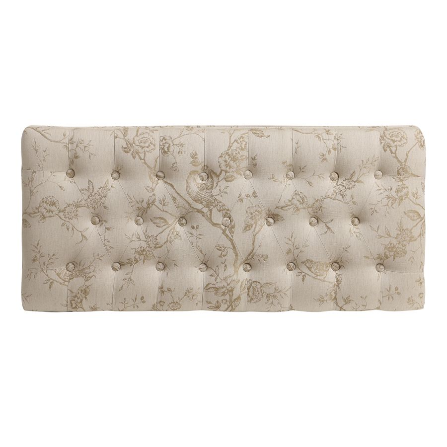 Banc ottoman en hévéa blanc et tissu paradisier - Gaspard
