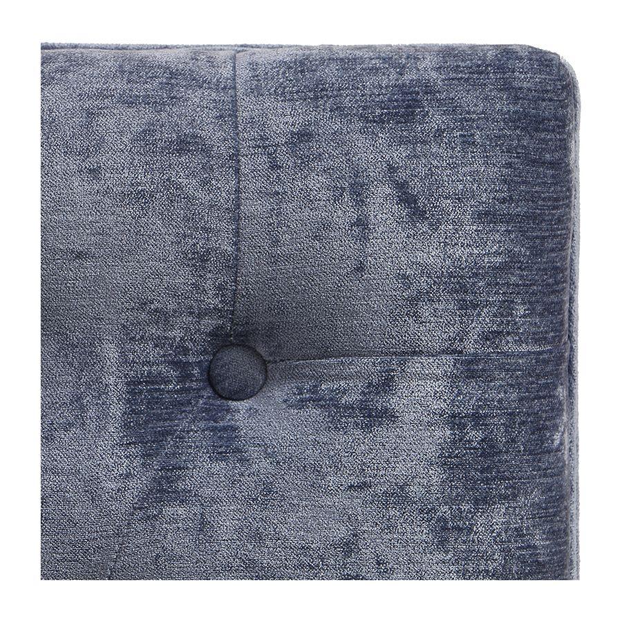 Banc ottoman en hévéa et tissu Velours bleu - Gaspard