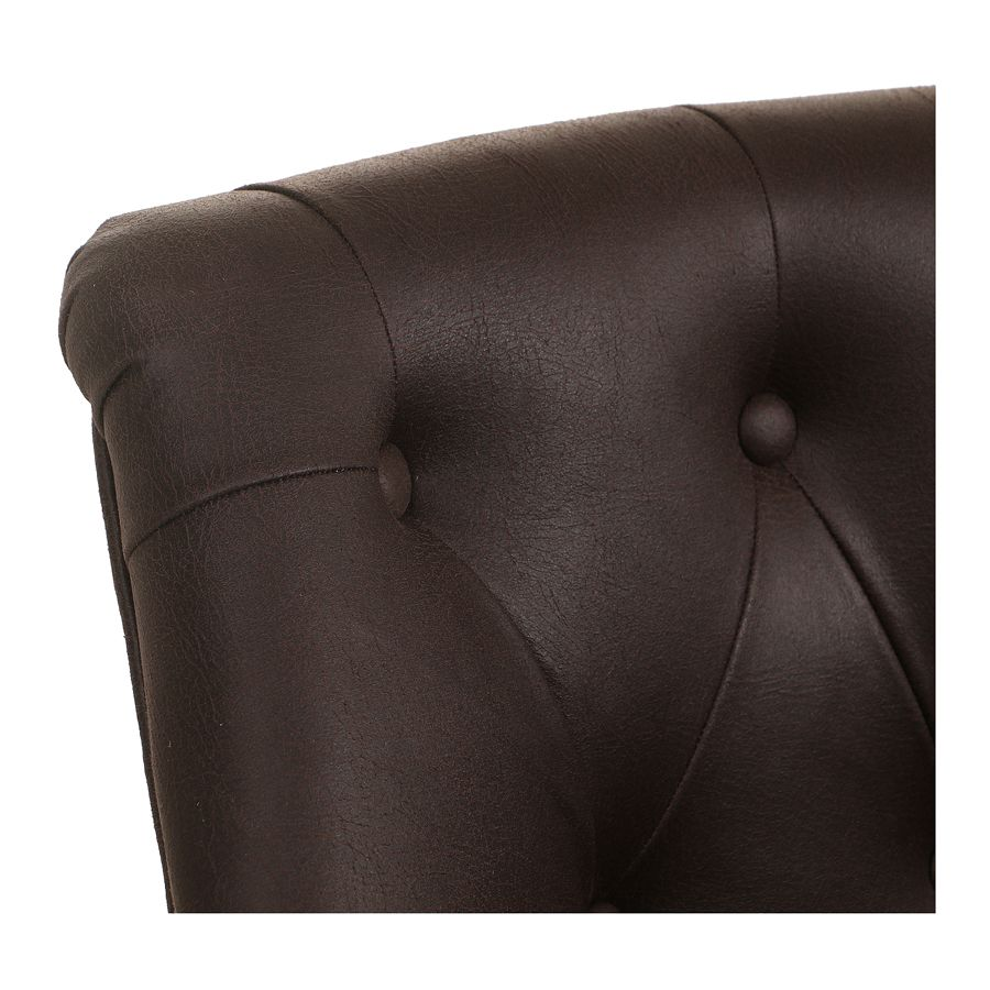Fauteuil crapaud en éco-cuir chocolat - Bastien
