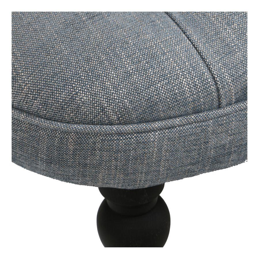 Fauteuil crapaud en hévéa noir et tissu bleu chambray - Bastien