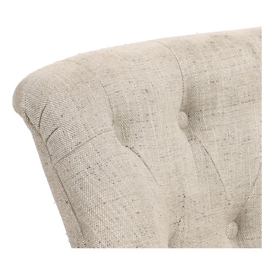 Fauteuil crapaud en tissu mastic grisé et hévéa massif noir - Bastien