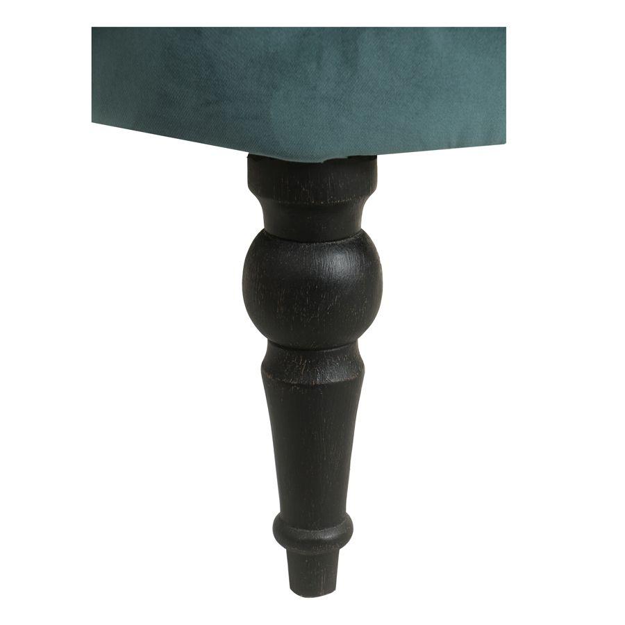 Fauteuil crapaud en hévéa noir et tissu velours vert bleuté - Bastien