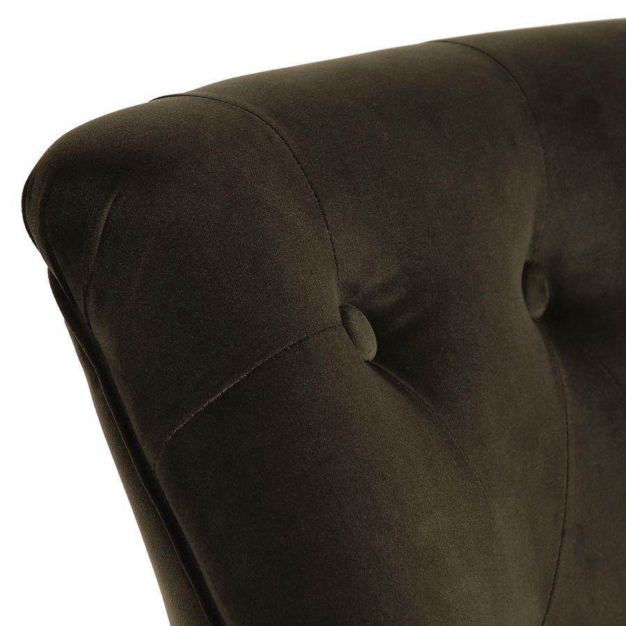 Fauteuil crapaud en hévéa noir et tissu velours kaki - Bastien
