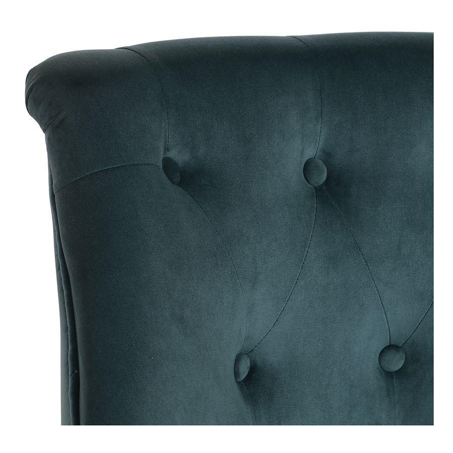 Fauteuil crapaud en velours vert bleuté - Bastien